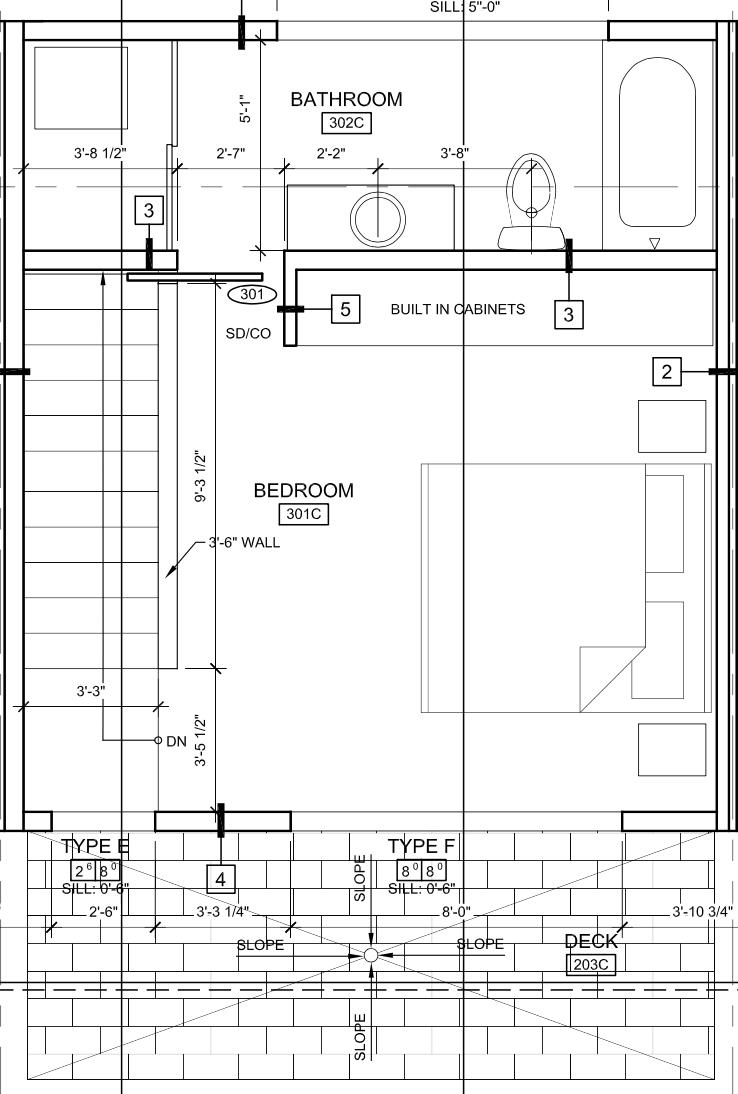 Third floor bedroom, bathroom, and deck